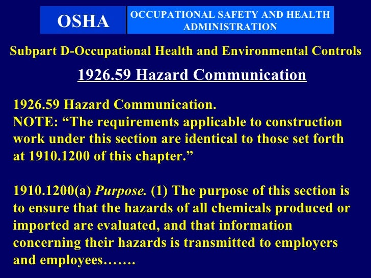 occupational safety and health administration and