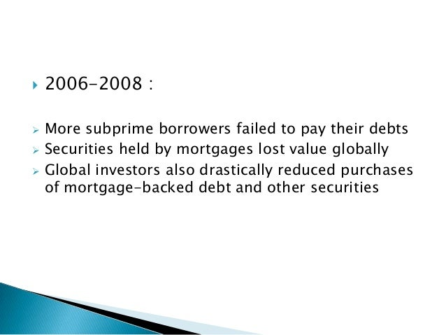 an analysis of the subprime mortgage crisis in the great global recession 2008 financial crisis & global recession  about executive summary analysis  was the growth of the subprime mortgage market what are subprime mortgages and .