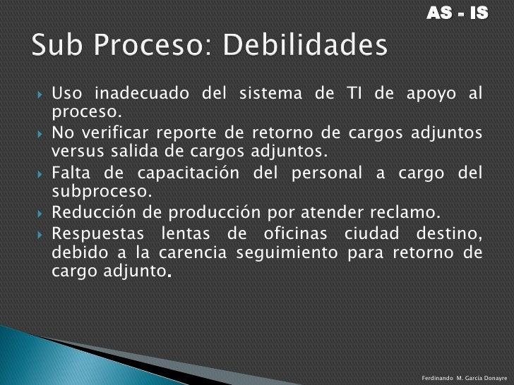 Sub procesos negocios for Salida de envio de oficina de cambio de destino