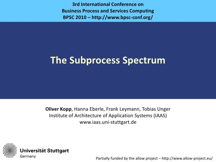 The Subprocess Spectrum<br />3rd International Conference on<br />Business Process and Services Computing<br />BPSC 2010 –...