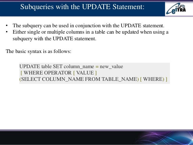 ... 10. Subqueries with the UPDATE ...  sc 1 st  SlideShare & Sub query example with advantage and disadvantages