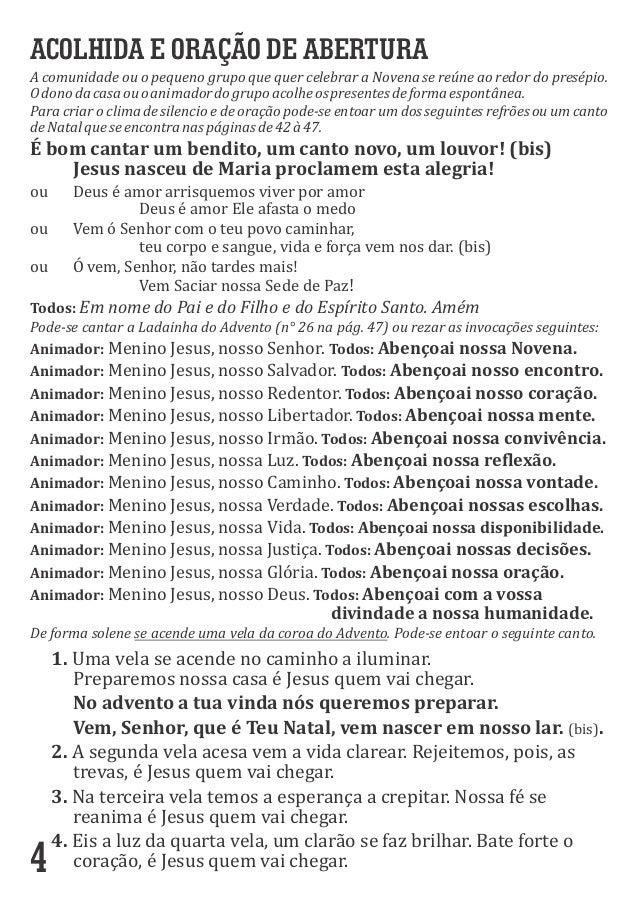 4 ACOLHIDA E ORAÇÃO DE ABERTURA AcomunidadeouopequenogrupoquequercelebraraNovenasereúneaoredordopresépio....