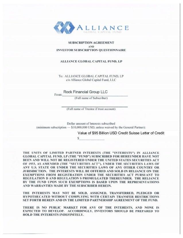 Value of $95 Billion USD Credit Suisse Letter of Credit