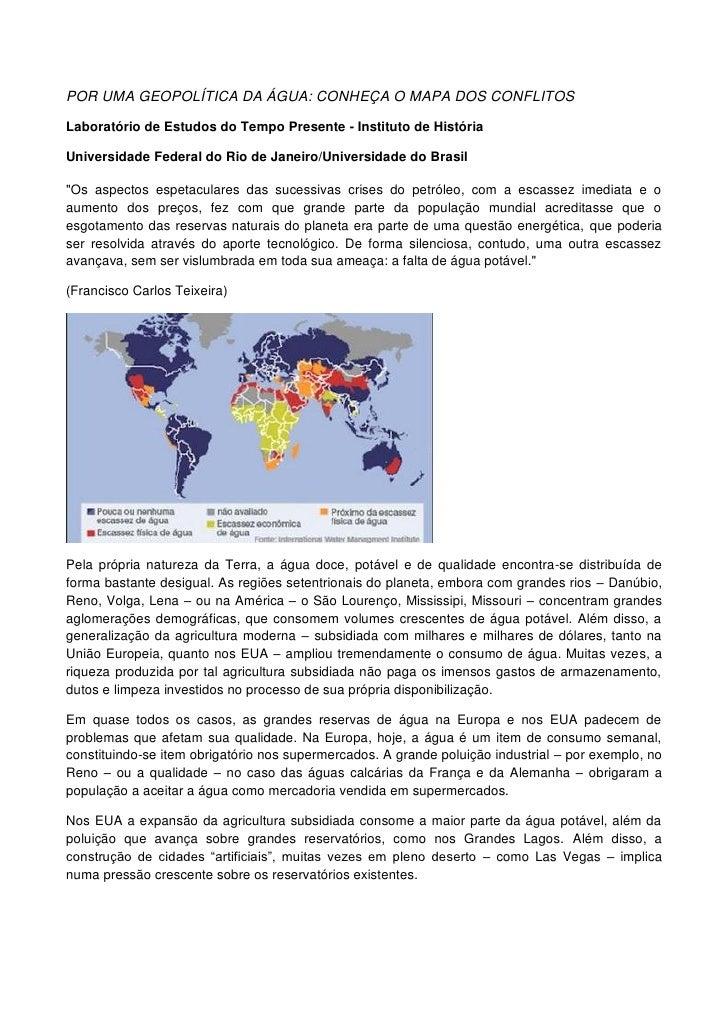 POR UMA GEOPOLÍTICA DA ÁGUA: CONHEÇA O MAPA DOS CONFLITOSLaboratório de Estudos do Tempo Presente - Instituto de HistóriaU...