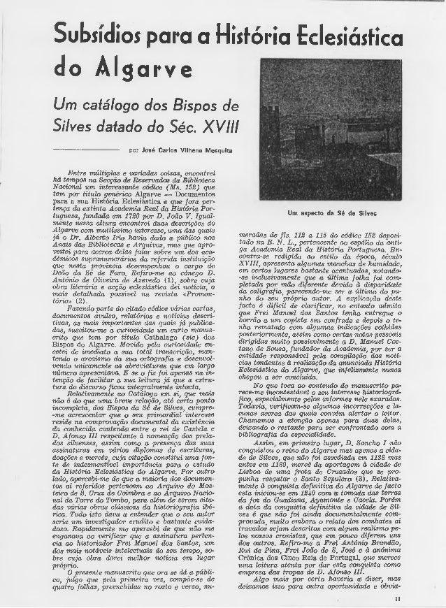 Subsídios para a História Eclesiástica  do Algarve  Um catálogo dos Bispos de  Silves datado do Séc. XV III  por José Carl...