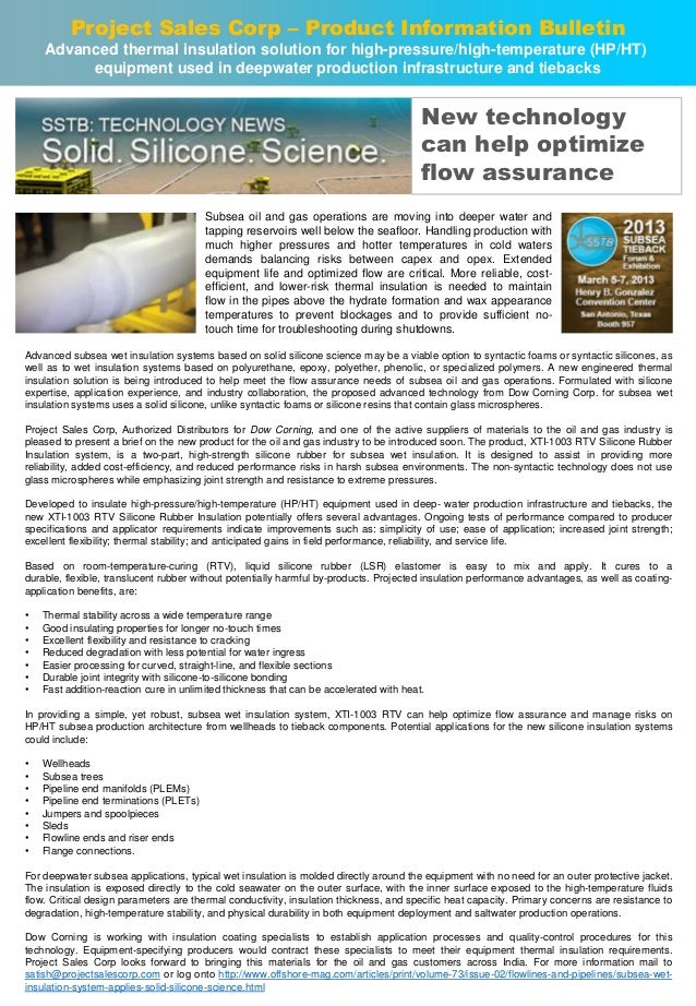 Project Sales Corp – Product Information Bulletin Advanced thermal insulation solution for high-pressure/high-temperature ...