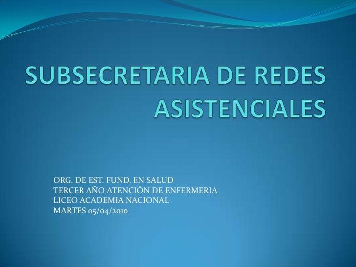 SUBSECRETARIA DE REDES ASISTENCIALES<br />ORG. DE EST. FUND. EN SALUD<br />TERCER AÑO ATENCIÓN DE ENFERMERIA<br />LICEO AC...