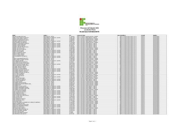 Processo de Seleção 2014 Locais de Prova Modalidade SUBSEQUENTE NOME ADELINE CAJAIBA DE NOVAIS ADENILTON VITORINO DOS SANT...