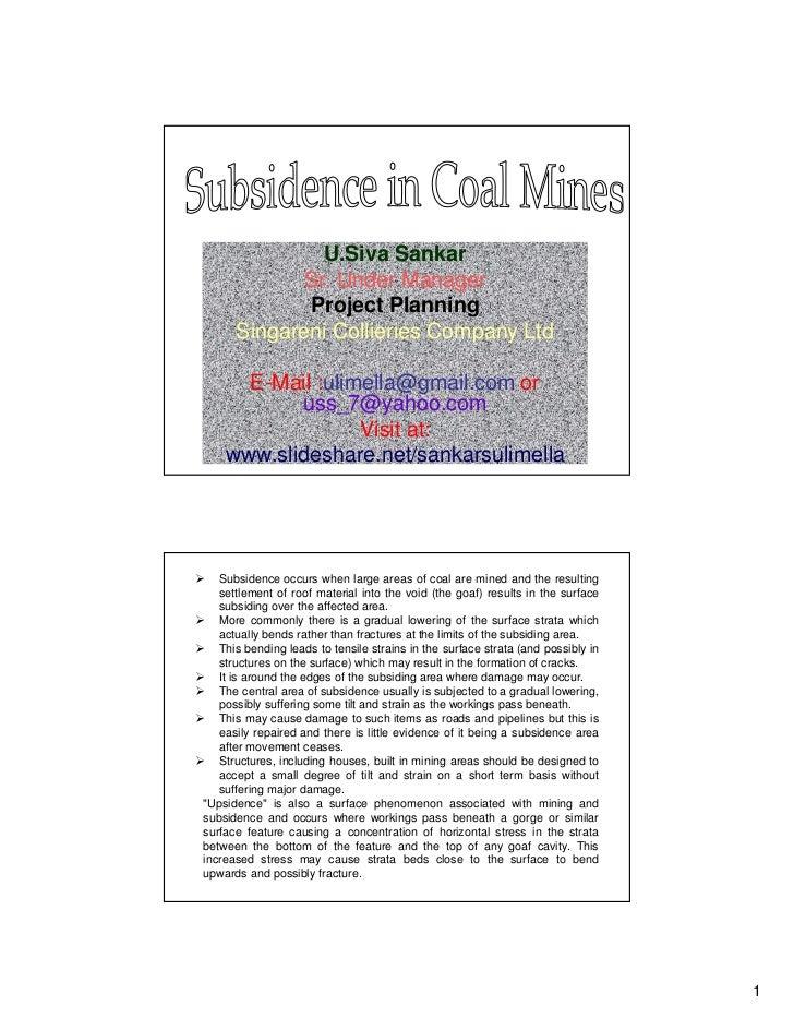 U.Siva Sankar            Sr. Under Manager             Project Planning      Singareni Collieries Company Ltd      E-Mail ...