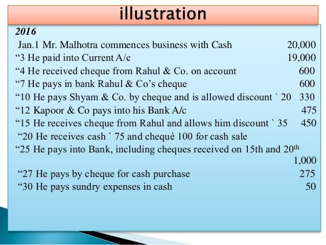 """2016 Jan.1 Mr. Malhotra commences business with Cash 20,000 """"3 He paid into Current A/c 19,000 """"4 He received cheque from ..."""
