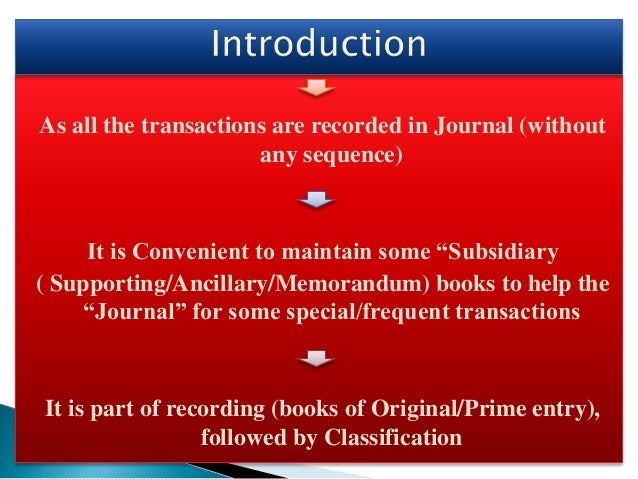 """As all the transactions are recorded in Journal (without any sequence) It is Convenient to maintain some """"Subsidiary ( Sup..."""