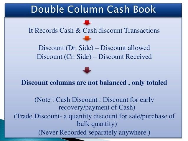 It Records Cash & Cash discount Transactions Discount (Dr. Side) – Discount allowed Discount (Cr. Side) – Discount Receive...