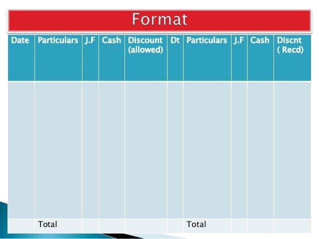 Date Particulars J.F Cash Discount (allowed) Dt Particulars J.F Cash Discnt ( Recd) Total Total