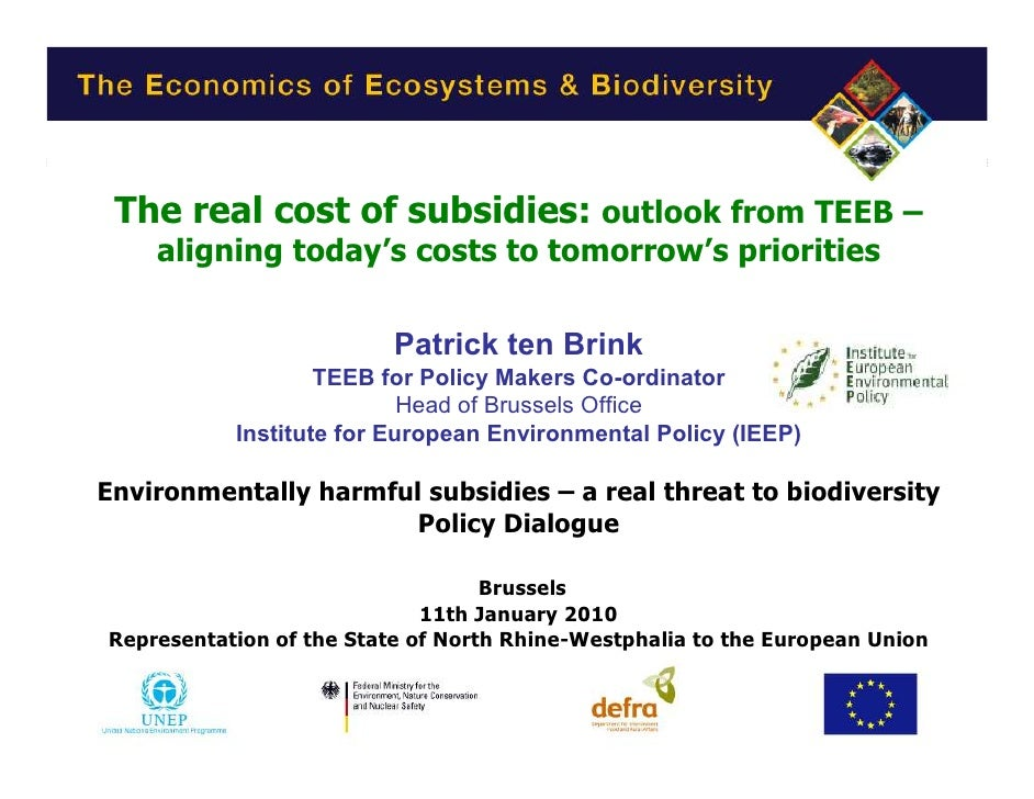 The real cost of subsidies: outlook from TEEB –         aligning today's costs to tomorrow's priorities                   ...