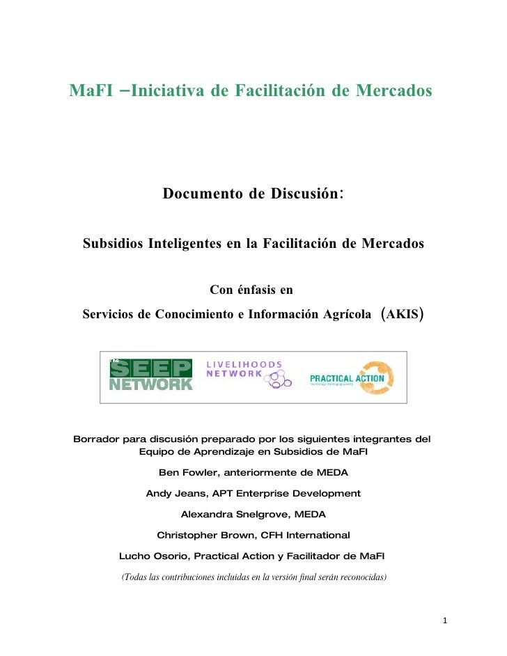 MaFI –Iniciativa de Facilitación de Mercados                         Documento de Discusión:   Subsidios Inteligentes en l...