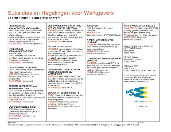 Subsidies En Regelingen Werkgevers April 2012