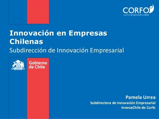 Innovación en Empresas Chilenas Subdirección de Innovación Empresarial Pamela Urrea Subdirectora de Innovación Empresarial...