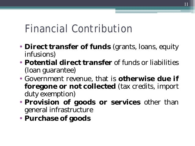 financing government loans grants subsidies contributions agriculture