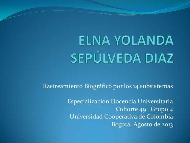 Rastreamiento Biográfico por los 14 subsistemas Especialización Docencia Universitaria Cohorte 49 Grupo 4 Universidad Coop...