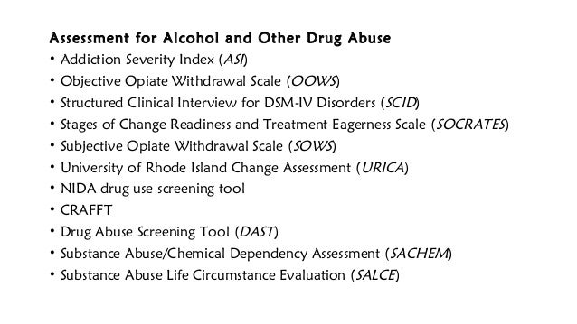Substance abuse assessment