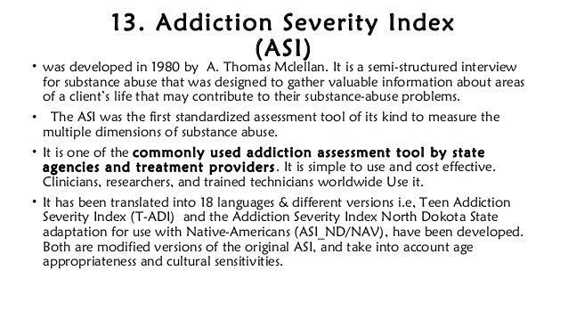 Teen addiction severity index
