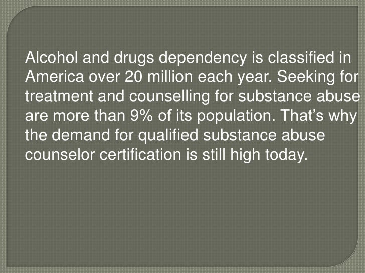 Substance abuse counselor certification for undergraduates