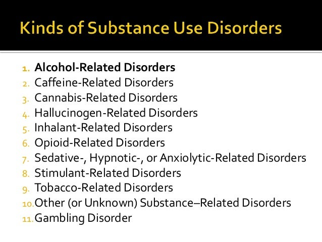 Substance Abuse Disorders For Ncmhce Study