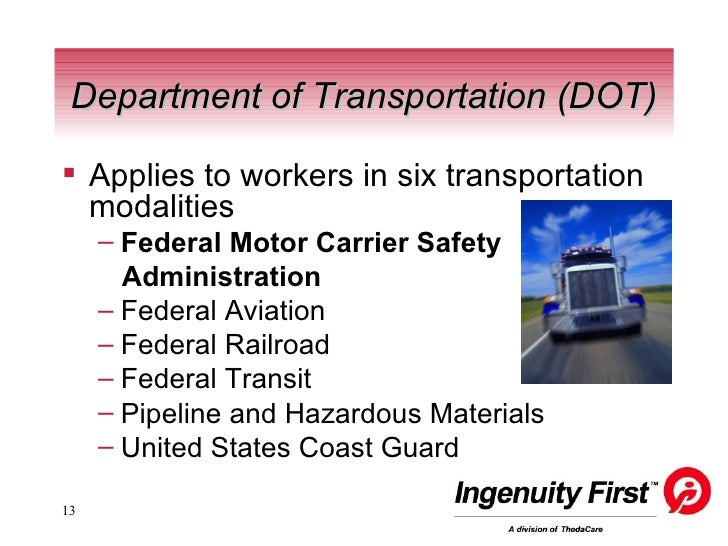 Substance abuse policy the role of the der for Us department of transportation federal motor carrier safety administration