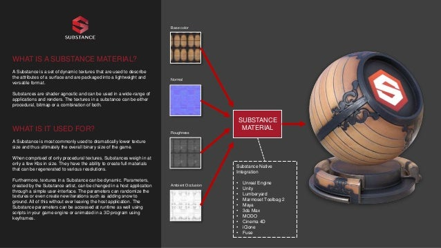 WHAT IS A SUBSTANCE MATERIAL? A Substance is a set of dynamic textures that are used to describe the attributes of a surfa...