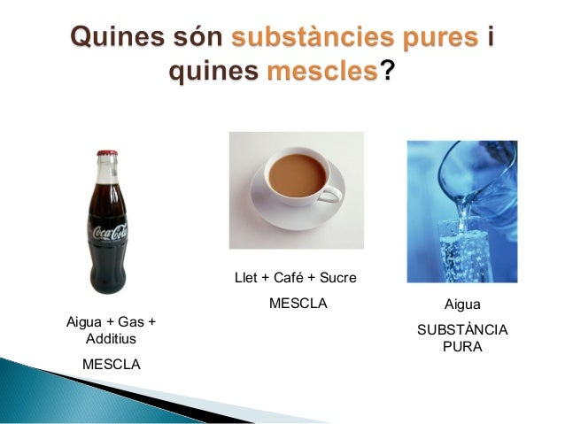 Resultado de imagen de substancies pures i mescles