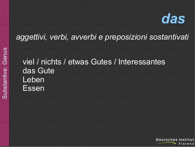 das Substantive: Genus  aggettivi, verbi, avverbi e preposizioni sostantivati viel / nichts / etwas Gutes / Interessantes ...
