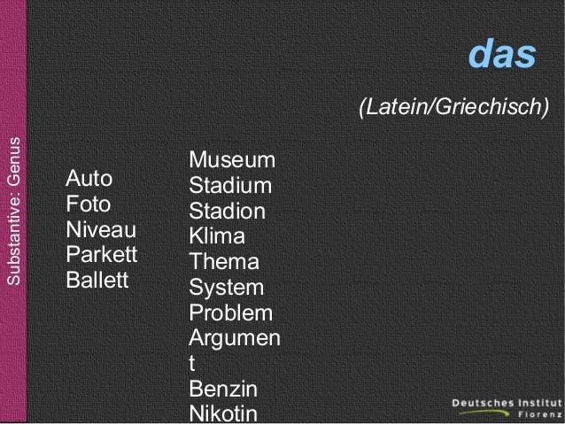 das Substantive: Genus  (Latein/Griechisch) Auto Foto Niveau Parkett Ballett  Museum Stadium Stadion Klima Thema System Pr...