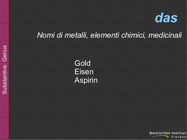das Substantive: Genus  Nomi di metalli, elementi chimici, medicinali  Gold Eisen Aspirin