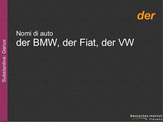 der Substantive: Genus  Nomi di auto  der BMW, der Fiat, der VW
