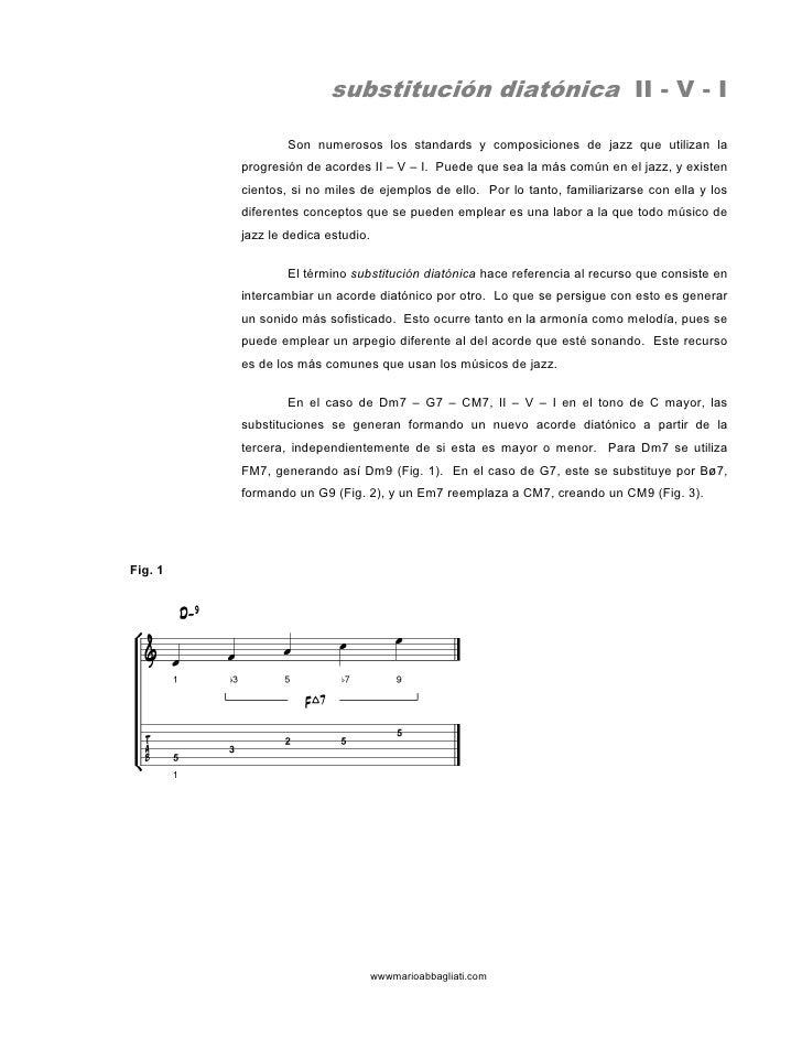 substitución diatónica II - V - I                   Son numerosos los standards y composiciones de jazz que utilizan la   ...