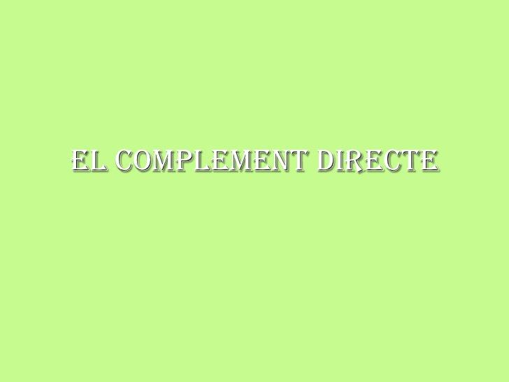 El complement directe