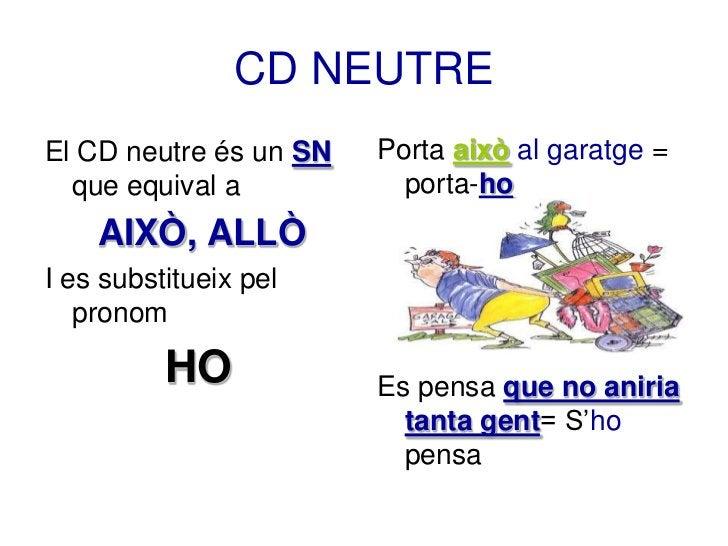 CD NEUTREEl CD neutre és un SN   Porta això al garatge =  que equival a           porta-ho    AIXÒ, ALLÒI es substitueix p...