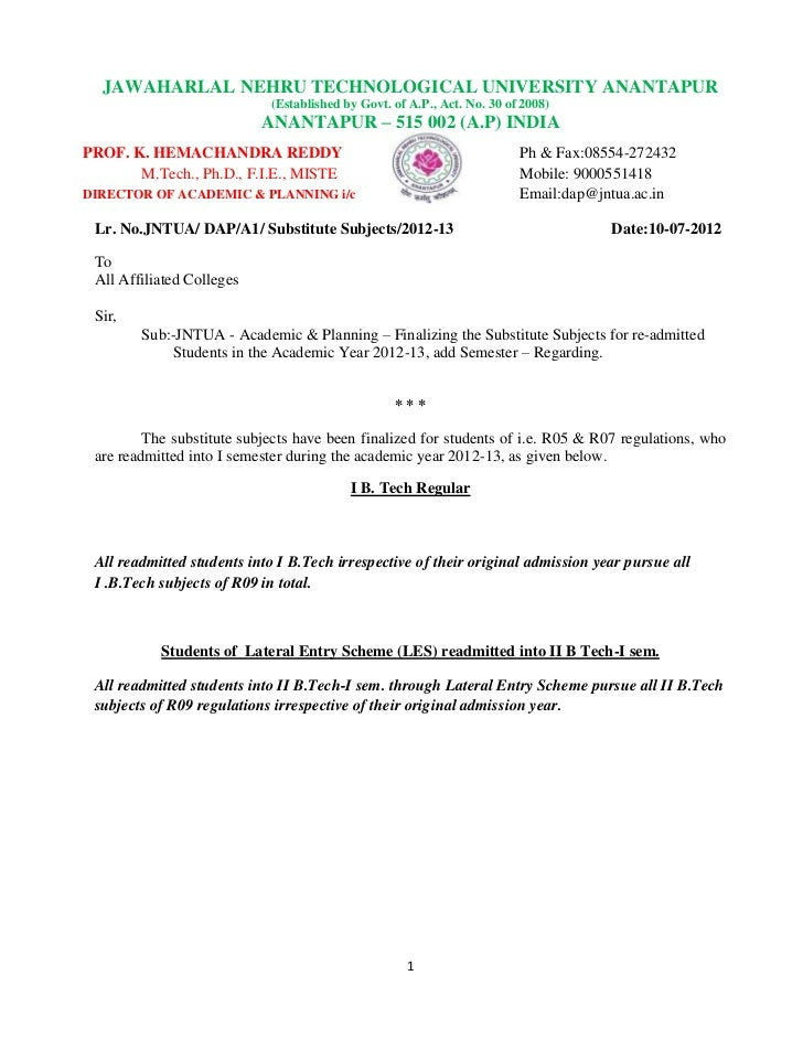 JAWAHARLAL NEHRU TECHNOLOGICAL UNIVERSITY ANANTAPUR                            (Established by Govt. of A.P., Act. No. 30 ...
