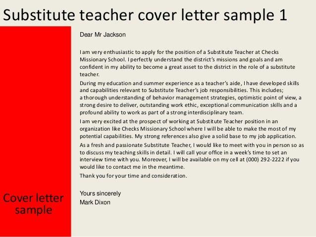 Marvelous Substitute Teacher Cover Letter ...  Cover Letter For Substitute Teacher