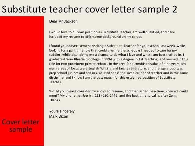 Cover Letter For Teacher Substitute Position