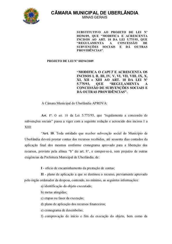 CÂMARA MUNICIPAL DE UBERLÂNDIA                                        MINAS GERAIS                                     SUB...