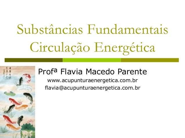 Substâncias FundamentaisCirculação Energética  Profª Flavia Macedo Parente  www.acupunturaenergetica.com.br  flavia@acupun...