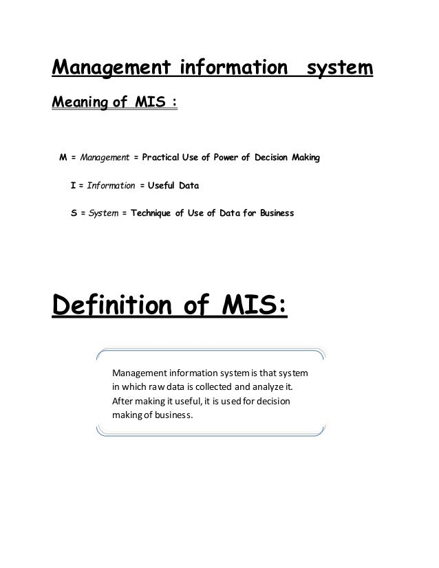 Sub systems of information system - MIS