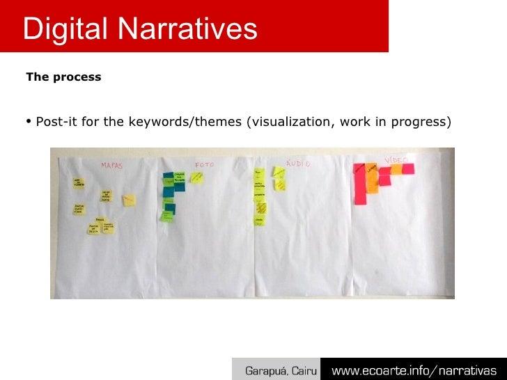 <ul><li>The process </li></ul><ul><li>Post-it for the keywords/themes (visualization, work in progress) </li></ul>Digital ...