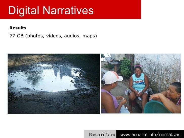 Results 77 GB (photos, videos, audios, maps) Digital Narratives
