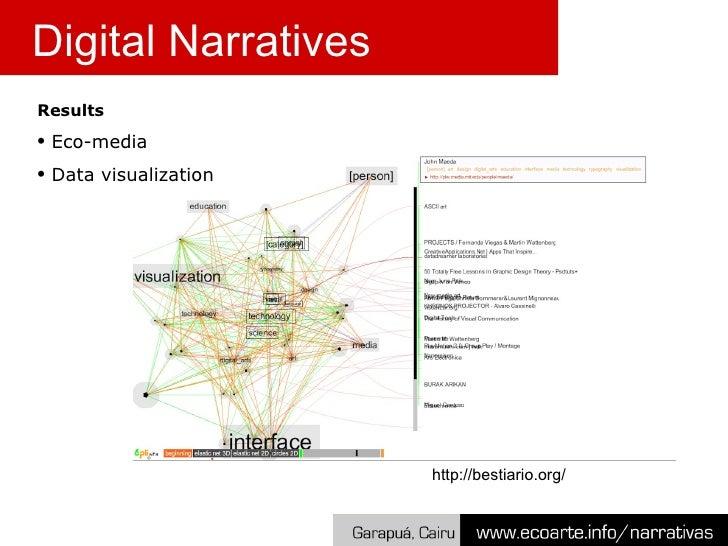 <ul><li>Results </li></ul><ul><li>Eco-media </li></ul><ul><li>Data visualization </li></ul>Digital Narratives http://besti...