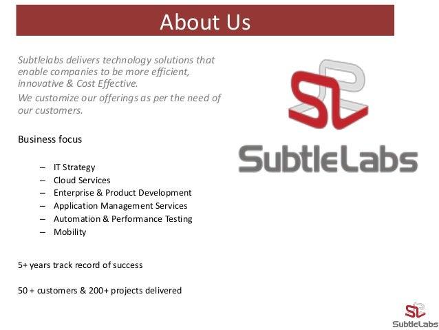 Subtlelabs Technologies Pvt. Ltd. - Profile Slide 2