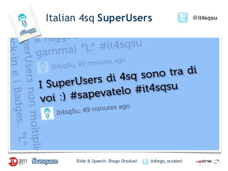 Italian 4sq SuperUsers                                   @it4sqsu      Slide & Speech: Diego Orzalesi   @diego_orzalesi