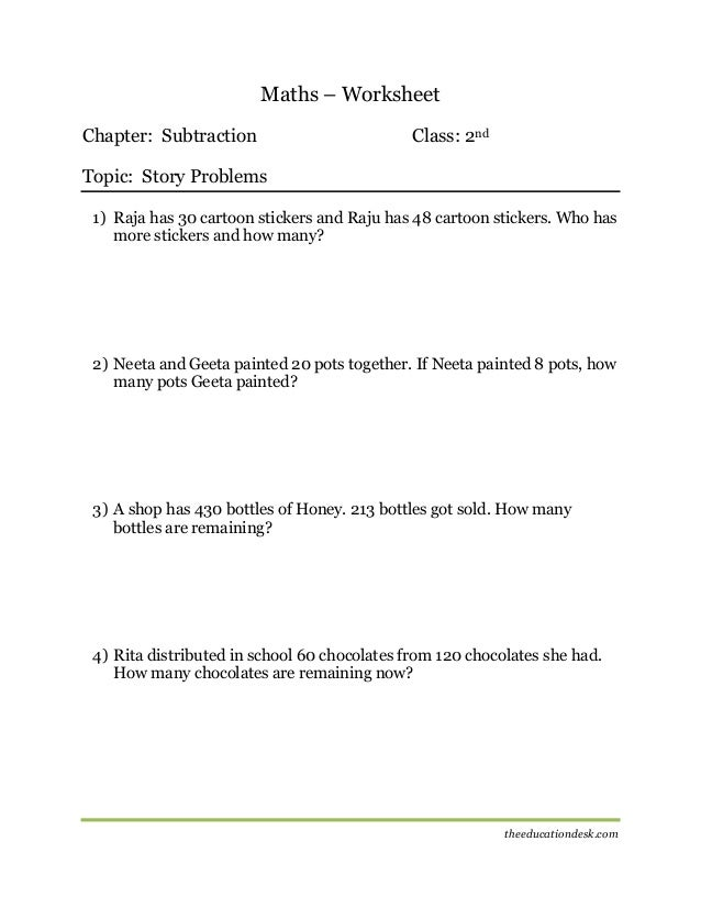 Maths Subtraction Worksheet CBSE Grade II – Maths Subtraction Worksheet
