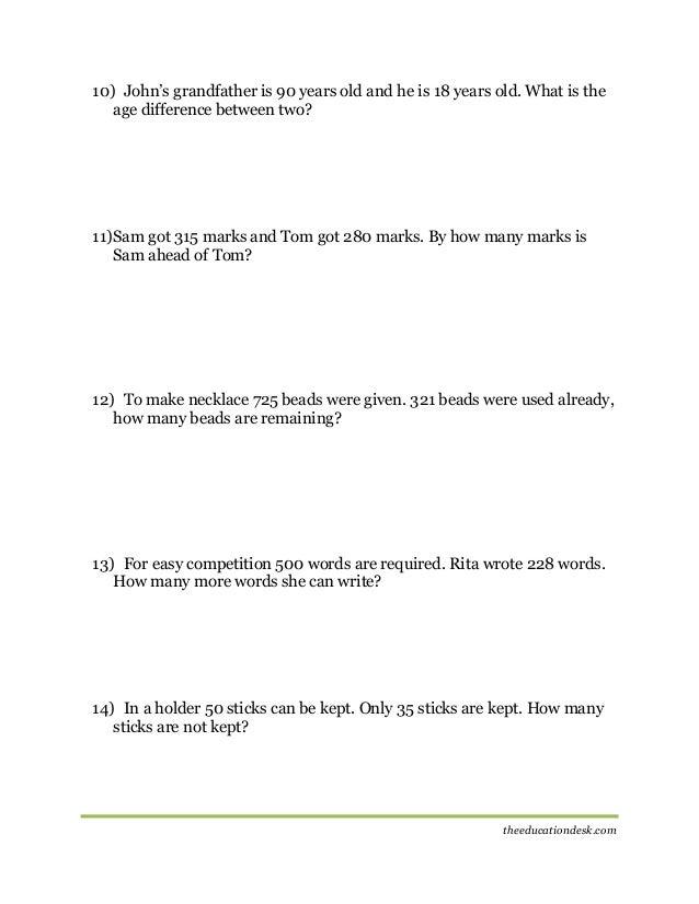 Maths Subtraction Worksheet CBSE Grade II – Subtracting 9 and 11 Worksheets